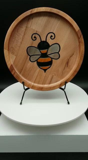 Plateau rond en hêtre Bumble Bee - Bumble Bee Round Beech Tray